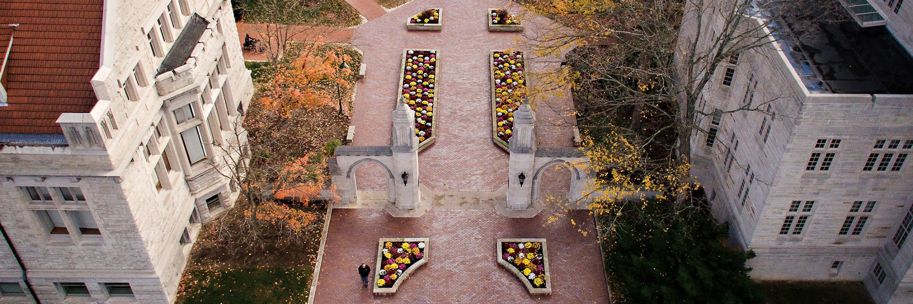 Aerial view of the Sample Gates on the Indiana University Bloomington campus